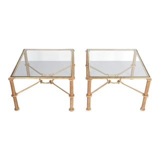Rene Drouet Attributed Pair of Gilt Iron Side Tables, France, 1950