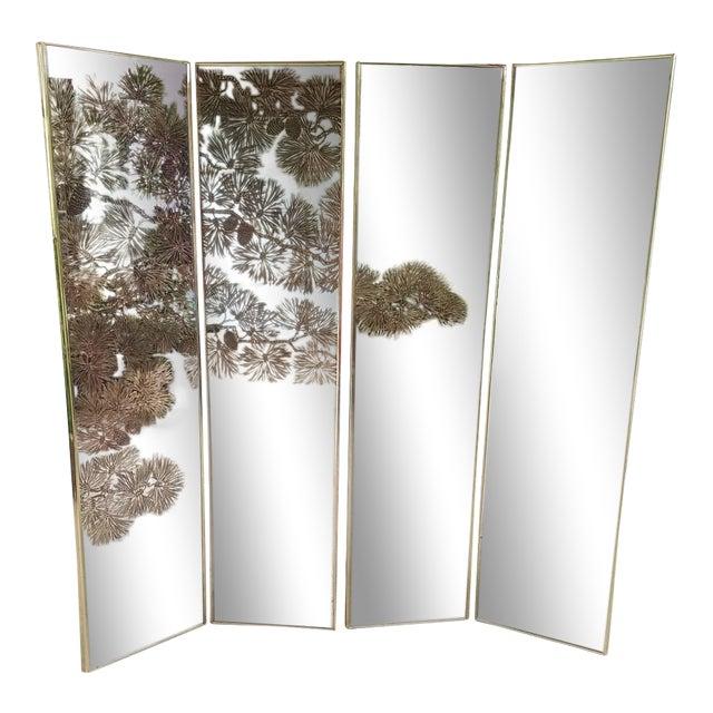 Vintage Gold Etched Mirror Room Divider For Sale