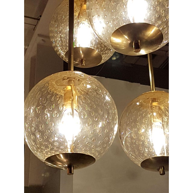 Mid-Century Modern Mid-century modern 6-clear glass globes brass flush mount light, attr to Venini For Sale - Image 3 of 6