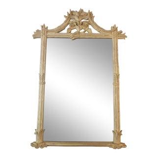 1970's Carolina Mirror Company Cerused Asparagus Pagoda Mirror For Sale