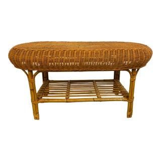 Vintage Bamboo and Wicker Coffee Table With Shelf For Sale