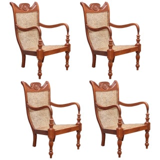1950s Vintage Colombo Area of Sri Lanka Teak Wood and Cane Lounge Chairs- A Pair For Sale