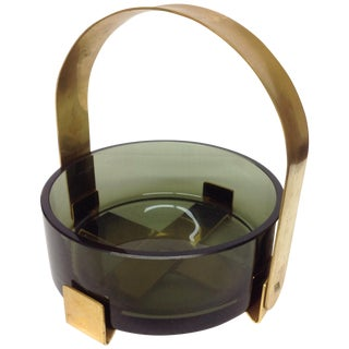 Fontana Arte Glass & Brass Bowl Max Ingrand For Sale