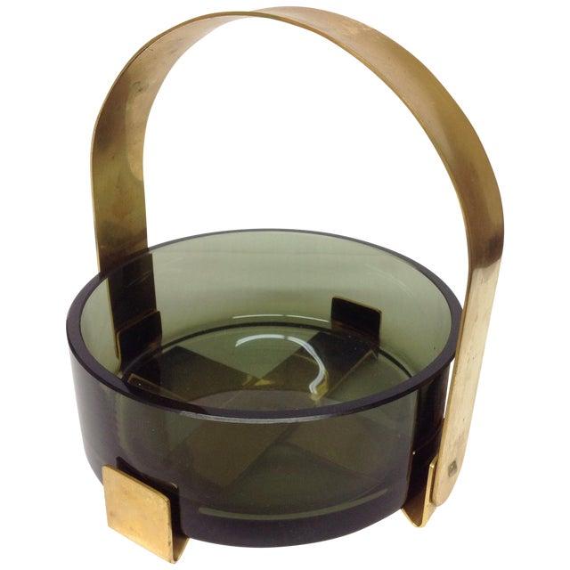 Fontana Arte Glass & Brass Bowl Max Ingrand For Sale