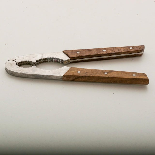 "Mid Century Modern Nutcracker Utensil / Tool / Gadget In Rosewood and Stainless Steel Dimensions: 7"" x 1 3/4"" W x 3/8""..."