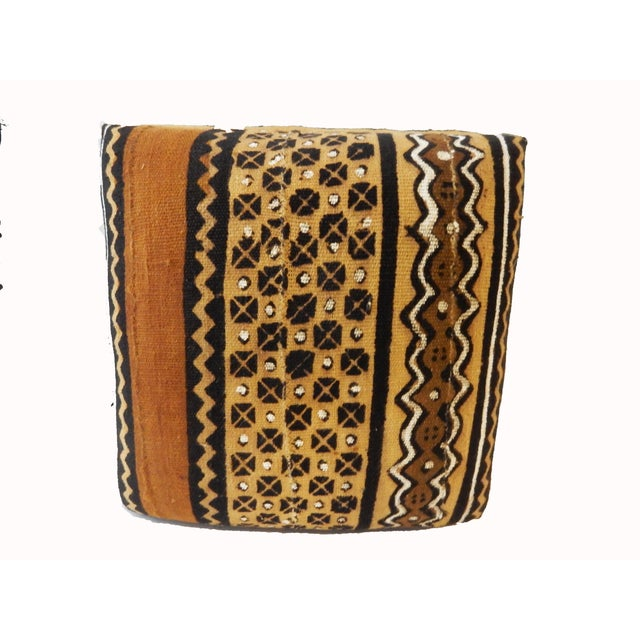 African Malian Mud Cloth Bogolan Textile Ottoman For Sale - Image 4 of 6