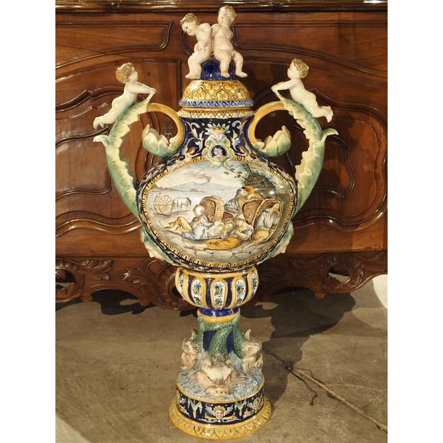 A Large Painted Italian Majolica Urn Circa 1885 For Sale - Image 12 of 12