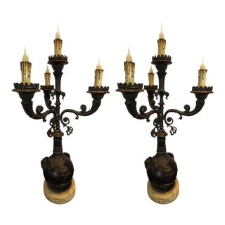 Theodore Alexander 4 Light Electrified Candelabras - a Pair For Sale