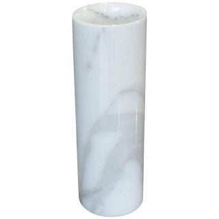 Italian Cylindrical Carrara Marble Vase