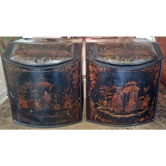 Pair of 19c American Henry Troemner Philadephia Pa Chinoiserie Tea Bins For Sale - Image 13 of 13