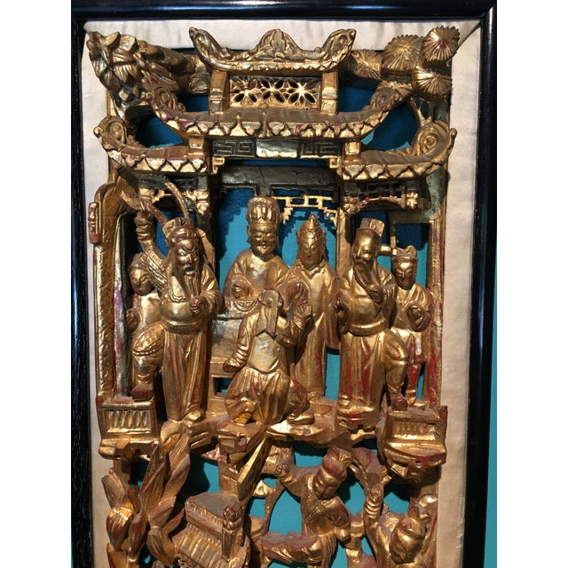 Late 19th Century 19th Century Carved Chinese Giltwood Wall Panel For Sale - Image 5 of 10