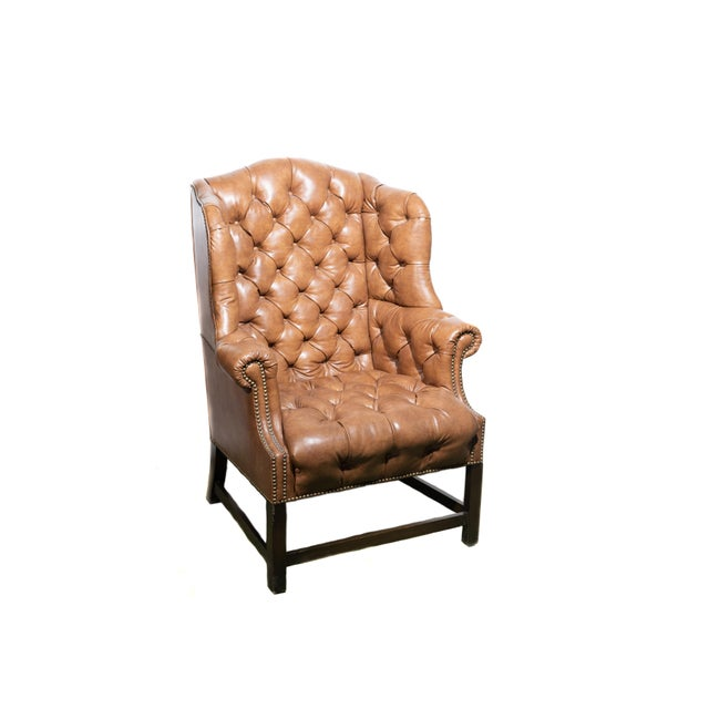 Vintage Wingback Tufted Leather Chairs - a Pair For Sale - Image 4 of 7