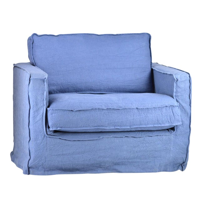 Blue Slip Cover Arm Chair For Sale