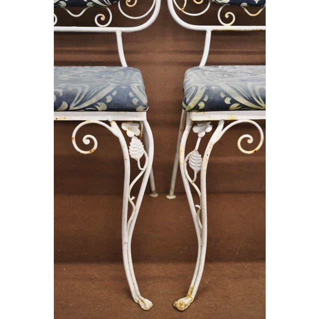Vintage French Art Nouveau Wrought Iron Floral Dining Chairs - Set of 4 For Sale - Image 12 of 13
