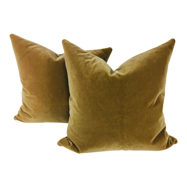 Champagne Wool Mohair Pillows - a Pair For Sale