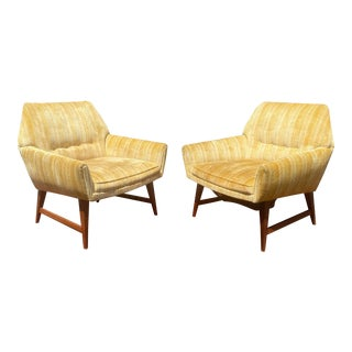 1970s Mid Century Modern Yellow Velvet Pinstripe Club Chairs - a Pair For Sale
