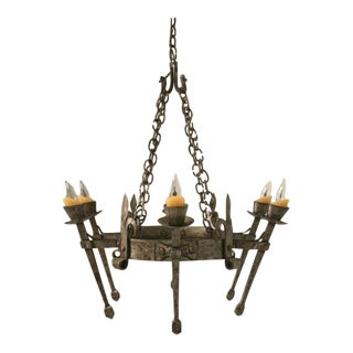 c.1920 French Hand-Forged Iron Oval Chandelier For Sale