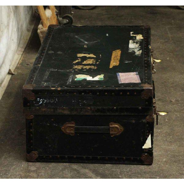 Black Antique Trunk With Bronze Hardware For Sale - Image 8 of 9