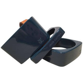 Louis Vuitton Dark Teal Acrylic Bangle Set For Sale