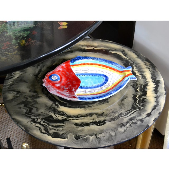 Original Italian Giovanni Desimone hand painted pottery, Fish Platter, Serving Plate. The plate is glazed and very...