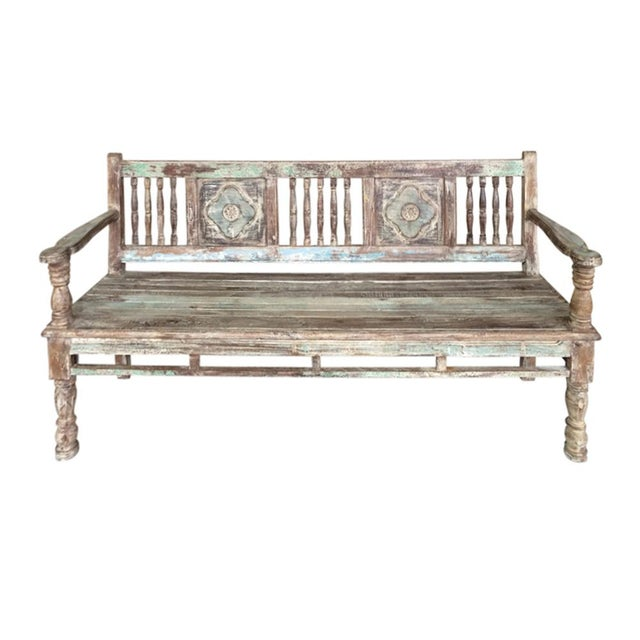 Reconstructed Carved Teak Bench - Image 1 of 2