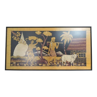 "Framed Vintage Sri Lankan Batik ""Coming Home"" Textile Art Picture, Signed by Ranaweera For Sale"