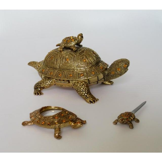 Belle Epoque Greek Key Gilt Brass Bejeweled Turtle Lidded Keepsake Box, Letter Opener & Magnifier Set in One - 3 Pieces For Sale - Image 3 of 13