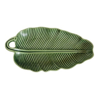 Early 21st Century Vintage Bordallo Pinneiro Tropical Leaf Serving Bowl For Sale