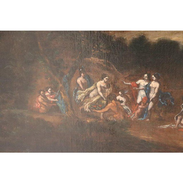 17th Century 17th Century Italian Oil Painting on Canvas, Landscape With Figures For Sale - Image 5 of 13