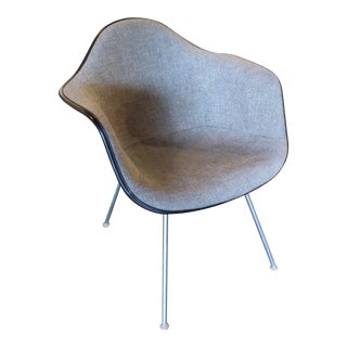 Eames for Herman Miller Upholstered Fiberglass 4-Leg Armchair For Sale