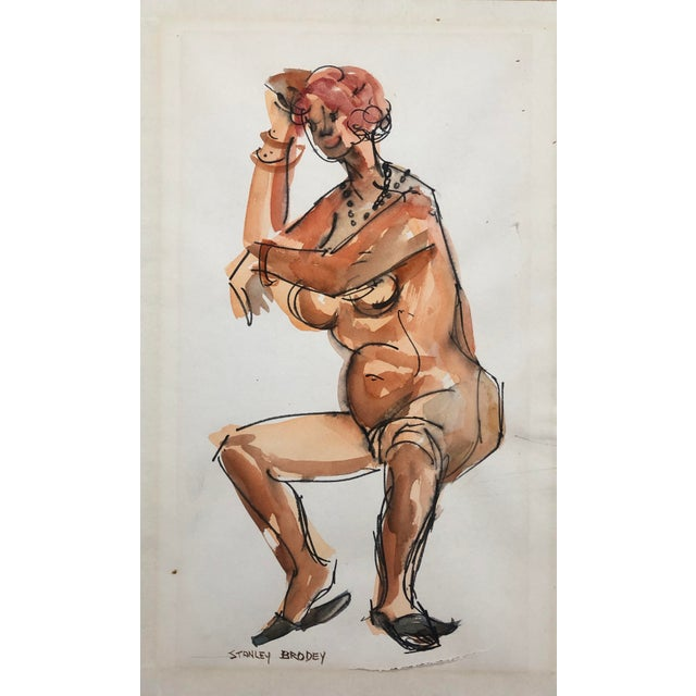 1950s 1950s Watercolor of a Seated Female Nude, Stanley Brodey For Sale - Image 5 of 5