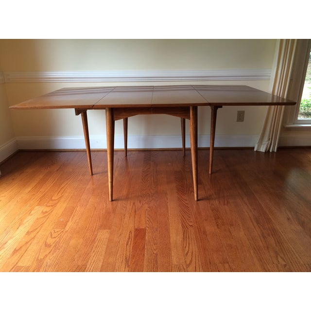 Mid-Century Expandable Drop Leaf Dining Table - Image 4 of 9