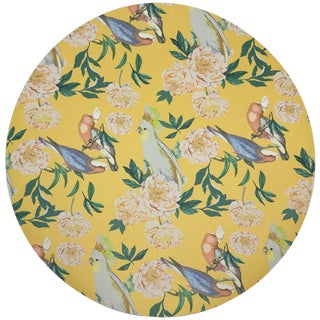 "Nicolette Mayer Peony Inspira Goldenrod 16"" Round Pebble Placemats, Set of 4 For Sale"