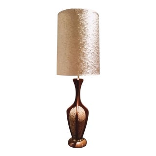1950s Mid-Century Modern Cork and Oak Table Lamp W/ Original Shade For Sale