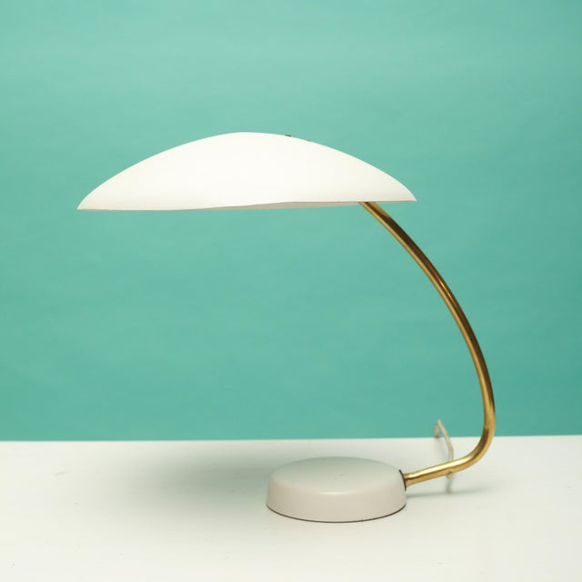 Vintage mid century desk lamp, in the Bauhaus style, made in Germany circa 1950.