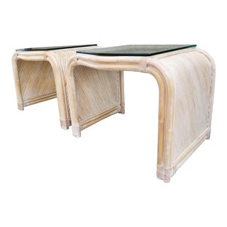 Split Reed Bamboo End Tables - a Pair For Sale