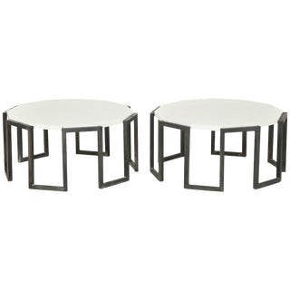 Pair of Wrought Iron and Travertine Marble Tables For Sale