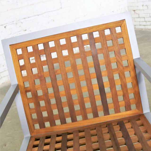 2000 - 2009 Pair of Aluminum and Teak Archetype Patio Chairs by Michael Vanderbyl for McGuire For Sale - Image 5 of 13