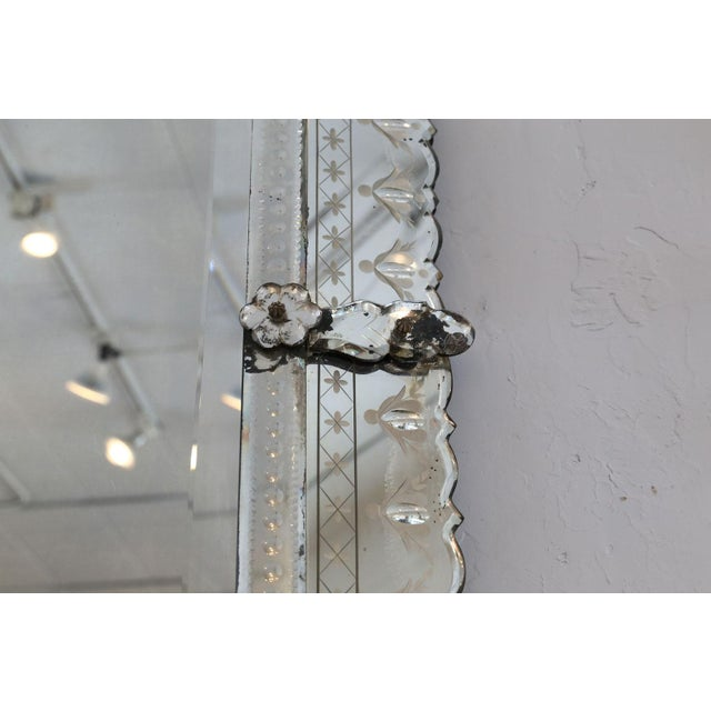Glass Large Rectangular Venetian Mirror For Sale - Image 7 of 12