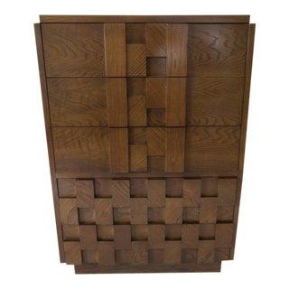 Lane Brutalist Tall Dresser / Chest For Sale