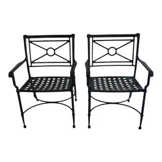 1980s Brown Jordan Black Patio Arm Chairs - a Pair For Sale