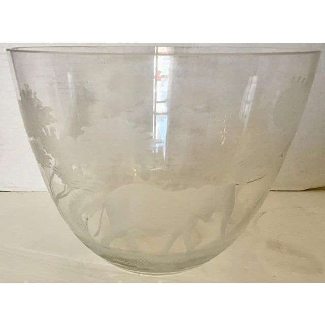 Transparent Etched African Animals Vase / Bowl For Sale - Image 8 of 8