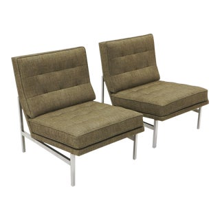 Early Florence Knoll Armless Slipper Lounge Chairs - a Pair For Sale
