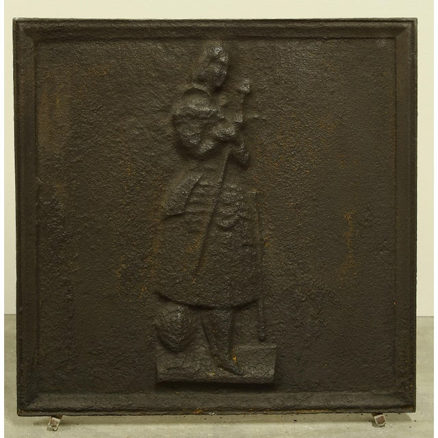 Antique Square Fireback, Beautiful Jeanne d'Arc For Sale - Image 4 of 4