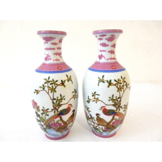 Famille Rose Porcelain Vases - A Pair - Image 2 of 7