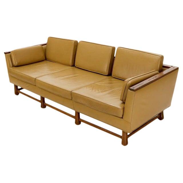 Mid-Century Modern Tan Leather Oak Frame Sofa by Ranch Oak For Sale