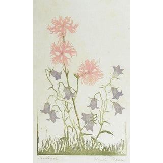 Wildfowers Woodcut Print by Wanda Roose For Sale