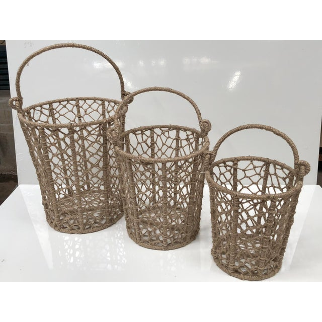 Tan Vintage Handcrafted Woven Jute Rope Buckets - Set of 3 For Sale - Image 8 of 8