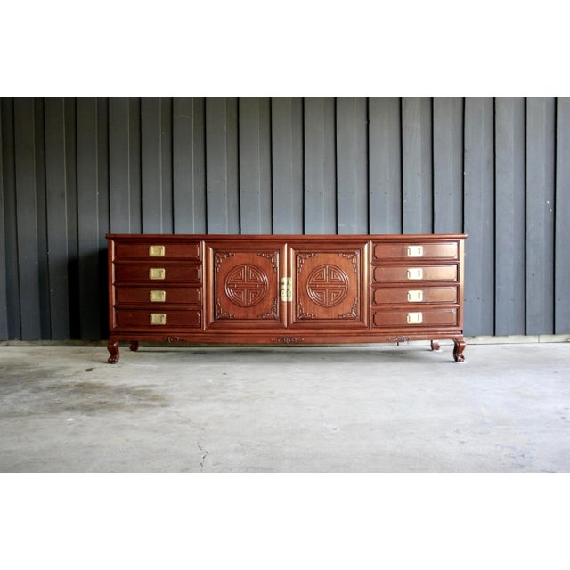 Chinoiserie Rosewood Credenza With Brass Pulls For Sale - Image 11 of 11