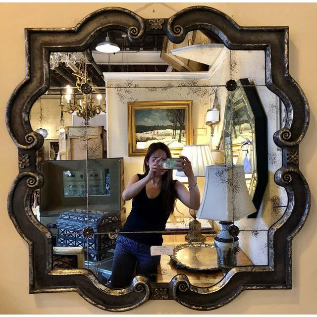 Hollywood Regency style wall mirror silver overlay decorated midcentury. Great for wall or over console. CFS.